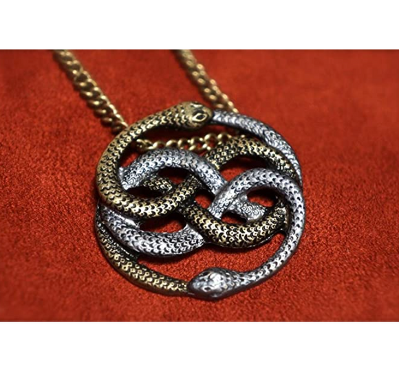 Atreyu's Pendant Snake Necklace Auryn Snake Jewelry Neverending Story Serpent Chain Birthday Gift Silver Gold Tone 20in.