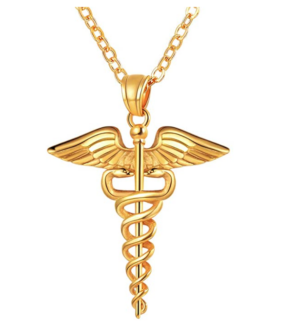 Caduceus Necklace Snake Jewelry Medical Symbol Chain Birthday Gift Nurse Doctor Gold Silver Tone 24in.