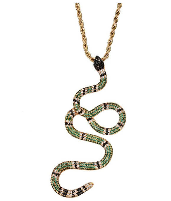 Snake Necklace Simulated Diamonds Snake Jewelry Hip Hop Snake Chain Birthday Gift 24in.
