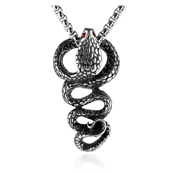 Red Eye Cobra Necklace Snake Pendant Gothic Jewelry King Cobra Snake Chain Birthday Gift Silver Tone 24in.