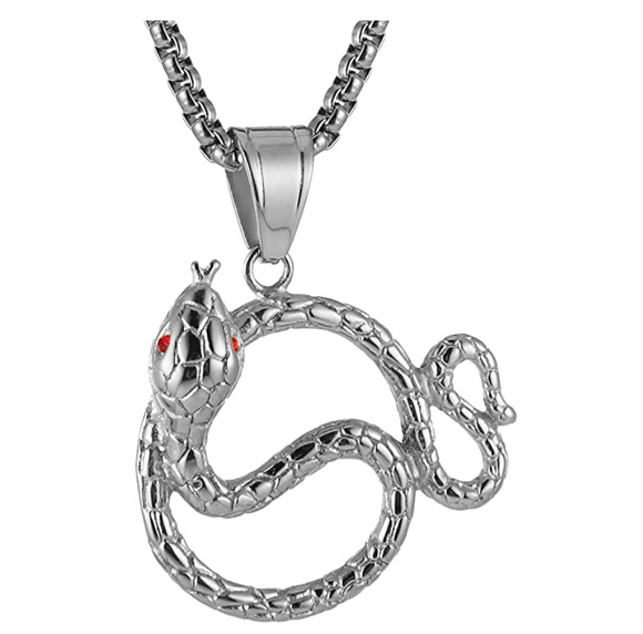 Red Eye Snake Necklace Snake Pendant Gothic Jewelry Snake Chain Birthday Gift Gold Silver Tone 24in.