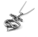 2 Head Snake Heart Necklace Snake Pendant Gothic Jewelry Love Snake Chain Birthday Gift Silver Tone 24in.