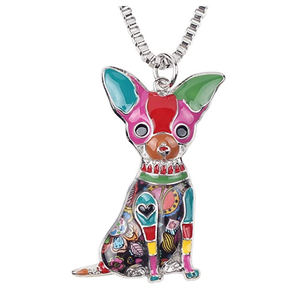 Chihuahua Necklace Doggy Chihuahua Pendant Jewelry Love Dog Chain Birthday Gift Silver Tone 18in.