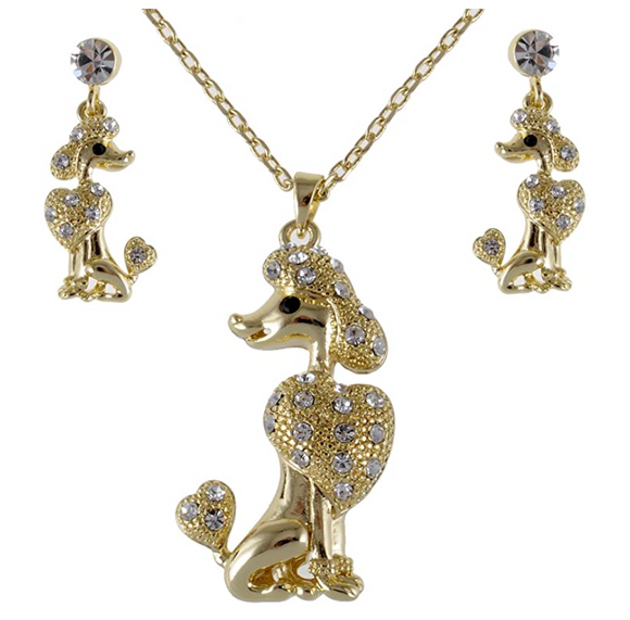 Poodle Pendant Jewelry Earring Poodle Necklace Poodle Dog Chain Doggy Puppy Birthday Gift 18in.