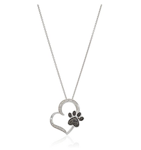 Love Dog Paw Necklace Heart Pendant Paw Print Jewelry Dog Chain Dog Puppy Birthday Gift 18in.