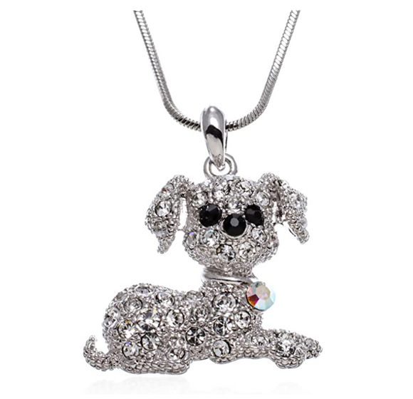 Puppy Dog Pendant Simulated Diamond Dog Necklace Jewelry Dog Chain Birthday Gift 18in.