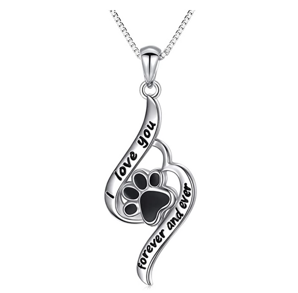 I Love You Paw Print Pendant Dog Puppy Dog Necklace Jewelry Dog Chain Birthday Gift 925 Sterling Silver 18in.