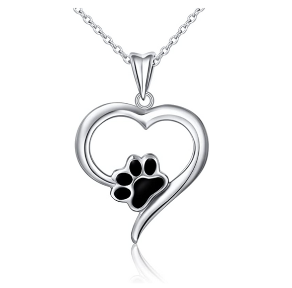 Love Paw Print Pendant Hear Dog Puppy Dog Necklace Jewelry Dog Chain Birthday Gift 925 Sterling Silver 18in.