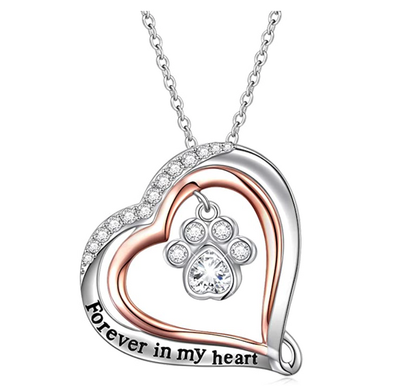 Simulated Diamond Love Paw Print Pendant Hear Dog Puppy Dog Necklace Jewelry Dog Chain Birthday Gift 925 Sterling Silver 18in.
