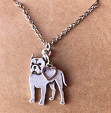 Small Pitbull Heart Necklace Jewelry Dog Chain Love Pendant Doggy Puppy Birthday Gift 18in.