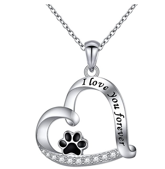 Paw Print Heart Pendant Love Puppy Dog Necklace Jewelry Dog Chain Birthday Gift Simulated Diamond 925 Sterling Silver 18in.