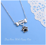 Dog Bone Paw Print Heart Pendant Love Puppy Dog Necklace Jewelry Dog Bone Chain Birthday Gift 925 Sterling Silver 18in.