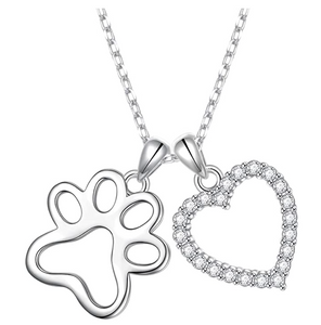 Dog Paw Heart Pendant Love Puppy Dog Necklace Jewelry Dog Bone Chain Birthday Gift 925 Sterling Silver 18in.