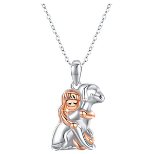 Dog Hug Pendant Love Puppy Dog Necklace Jewelry Dog Chain Birthday Gift 925 Sterling Silver 18in.