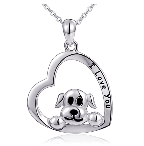 Dog Heart Pendant Love Puppy Dog Necklace Jewelry Dog Chain Birthday Gift 925 Sterling Silver 18in.