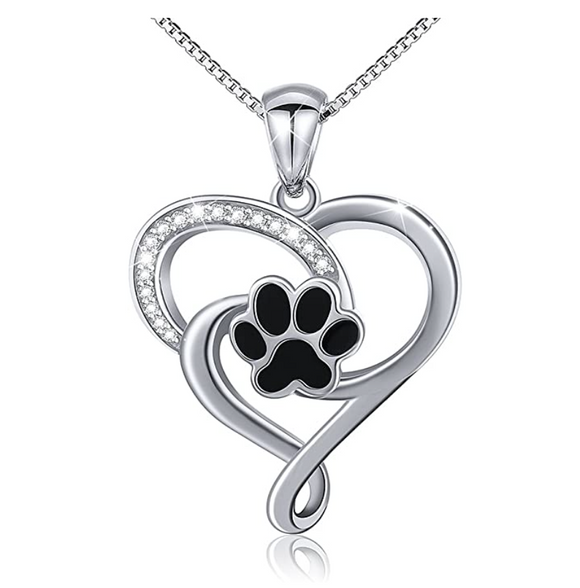Dog Heart Paw Pendant Love Puppy Dog Necklace Jewelry Dog Paw Print Chain Birthday Gift 925 Sterling Silver Simulated Diamonds 18in.