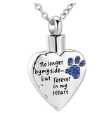 Dog Heart Urn Pendant Love Puppy Dog Necklace Memorial Urn Ash Jewelry Dog Paw Print Chain Birthday Gift 925 Sterling Silver Simulated Diamonds 18in.