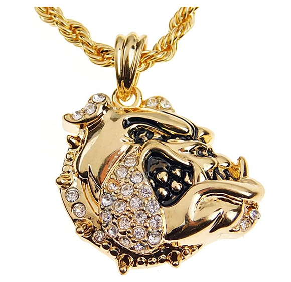 Gold Tone Bulldog Head Pendant English Bulldog Necklace Jewelry Dog Chain Doggy Puppy Birthday Gift Simulated Diamonds 24in.