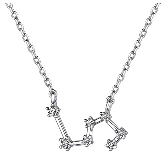 Libra Star System Necklace Astrology Zodiac Jewelry Libra Chain Pendant Libra Birthday Gift 925 Sterling Silver 18in.