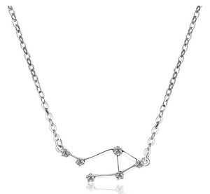 Libra Astrology Necklace Star System Zodiac Jewelry Libra Chain Simulated Diamonds Pendant Libra Birthday Gift 925 Sterling Silver 18in.