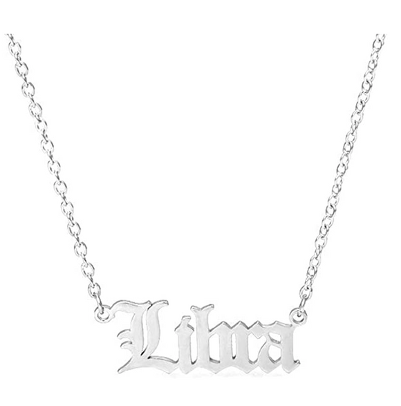 Libra Necklace Pendant Libra Astrology Star Zodiac Libra Name Jewelry Chain Birthday Gift 16in.