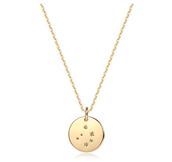 Libra Star Pendant Libra Necklace Medallion Zodiac Jewelry Libra Chain Birthday Gift 20in.