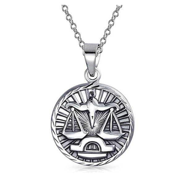 Libra Scale Necklace Medallion Zodiac Jewelry Libra Chain Pendant Libra Astrology Star Birthday Gift 925 Sterling Silver 18in.