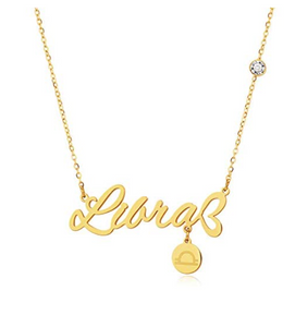 Gold Tone Libra Name Necklace Zodiac Jewelry Libra Chain Pendant Libra Astrology Star Birthday Gift 18in.