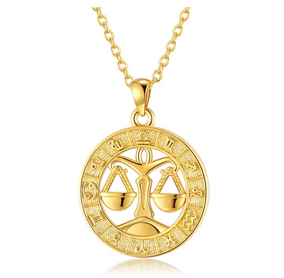 Libra Scale Medallion Necklace Zodiac Jewelry Libra Chain Pendant Libra Astrology Star Birthday Gift 18in.