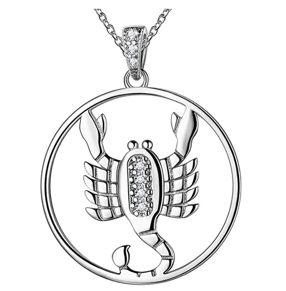 Scorpion Medallion Zodiac Necklace Pendant Scorpion Chain Astrology Chain Jewelry Scorpio Birthday Gift 925 Sterling Silver 20in.