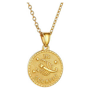 Gold Tone Scorpion Medallion Zodiac Necklace Pendant Scorpion Chain Astrology Chain Jewelry Scorpio Birthday Gift 22in.