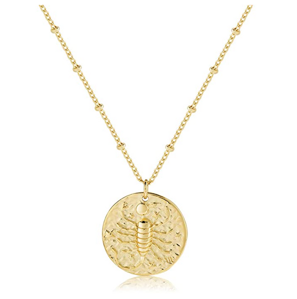 Gold Tone Round Scorpion Necklace Medallion Pendant Scorpion Chain Zodiac Astrology Chain Jewelry Scorpio Birthday Gift 20in.