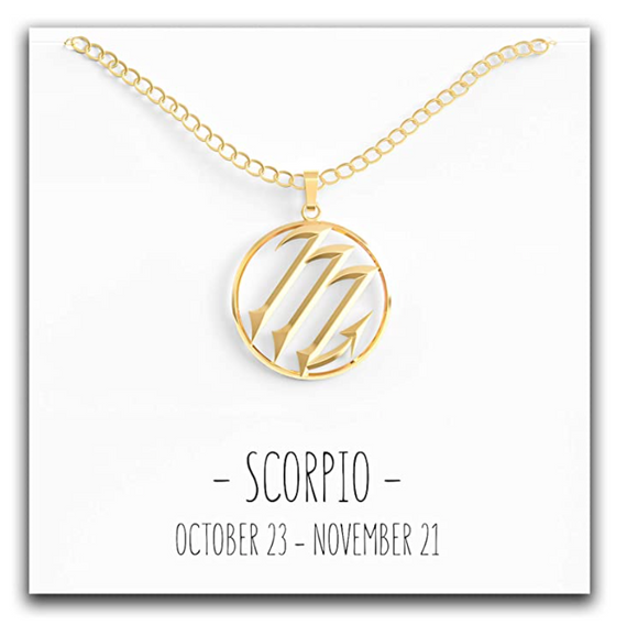 Gold Tone Scorpio Zodiac Necklace Astrology Chain Jewelry Scorpio Sign Birthday Gift 18in.