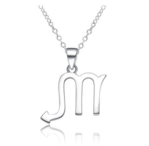 925 Sterling Silver Scorpio Zodiac Necklace Astrology Chain Jewelry Scorpio Sign Birthday Gift 18in.