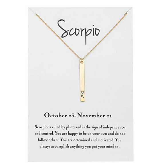 Y Bar Scorpio Zodiac Necklace Heart Astrology Chain Jewelry Scorpio Sign Birthday Gift 18in.