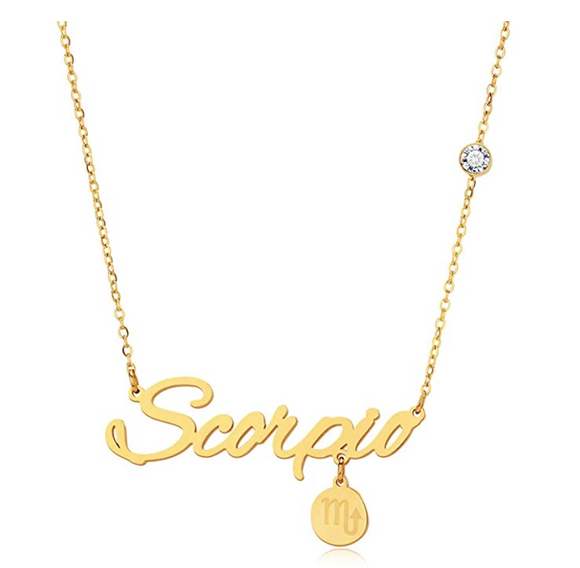Scorpio Name Pendant Scorpio Astrology Necklace Zodiac Scorpion Sign Jewelry Chain Birthday Gift 18in.