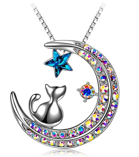 Cat on Moon Necklace Star Cat Pendant Jewelry Kitty Chain Birthday Gift 18in.