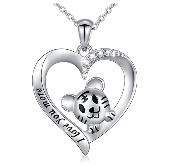 Simulated Diamond Heart Cat Necklace I love Kitty Pendant Jewelry Cat Chain Birthday Gift 925 Sterling Silver 18in.