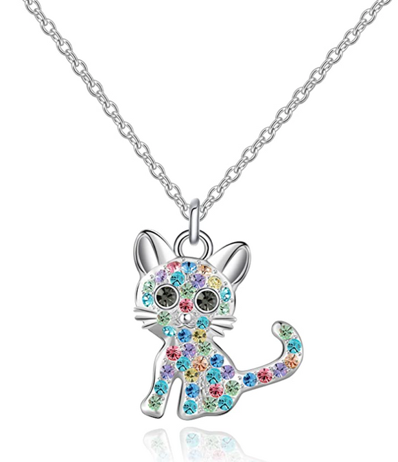 Cute Girls Kitty Necklace Simulated Diamond kitty Cat Pendant Jewelry Cat Chain Birthday Gift 18in.