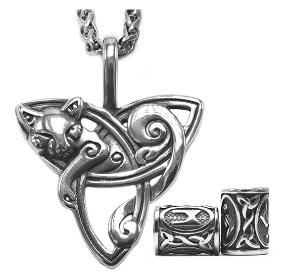 Triquetra Cat Necklace Celtic Trinity Knot Zodiac Charm Pendant Jewelry Kitty Chain Birthday Gift 20in.