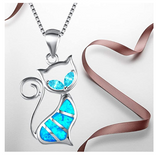 Simulated Blue Opal Cat Necklace Cat Bones Pendant Jewelry Kitty Chain Birthday Gift 925 Sterling Rose Gold 18in.