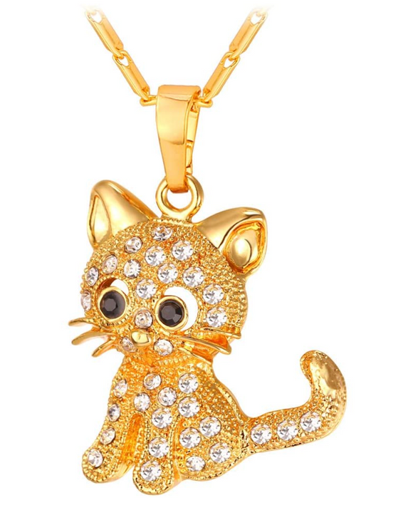 Gold Tone Cute Kitty Cat Necklace Simulated Diamond Kitty Cat Pendant Jewelry Cat Chain Birthday Gift 18in.