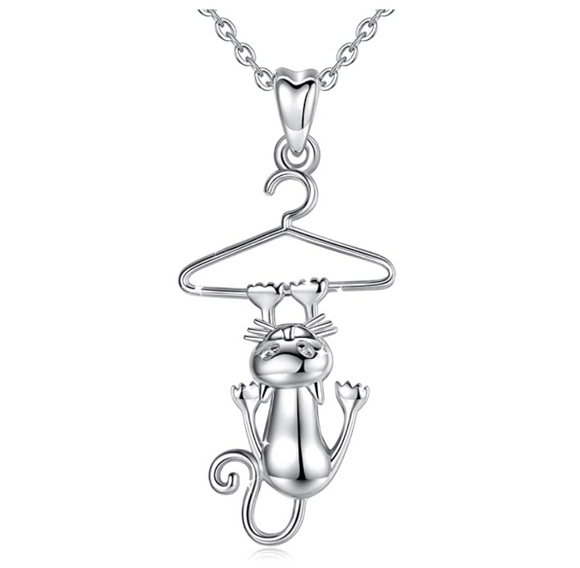 Cat Hanging on Hanger Necklace Kitty Cat Pendant Jewelry Cat Chain Birthday Gift 925 Sterling Silver 18in.