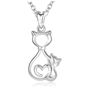 Baby Kitty Cat Necklace Kitty Cat Family Pendant Jewelry Love Heart Cat Chain Birthday Gift 925 Sterling Silver 18in.