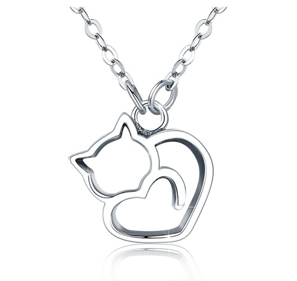Cat Necklace Cat Pendant Jewelry Kitty Chain Birthday Gift 925 Sterling Silver 18in.