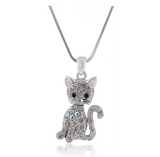 Cat Necklace Simulated Diamond Cat Pendant Jewelry Kitty Chain Birthday Gift 18in.