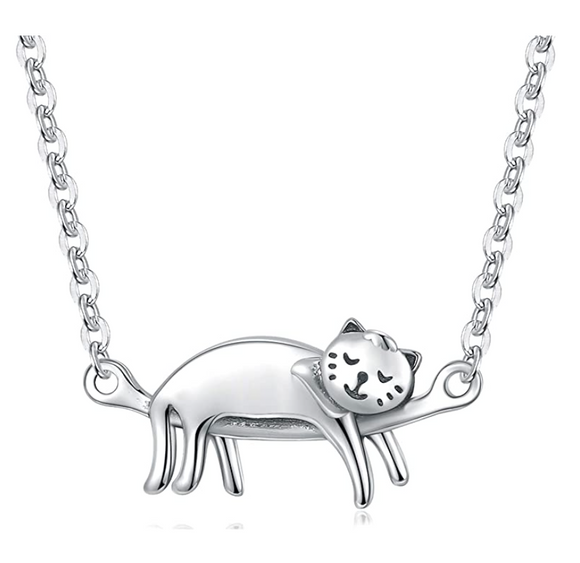 Cute Cat Sleeping Necklace Cat Hanging Pendant Jewelry Kitty Chain Birthday Gift 925 Sterling Silver 18in.