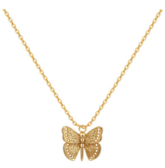 Dainty Butterfly Necklace Butterfly Pendants Jewelry Butterfly Chain Gold Color Birthday Gift 22in.