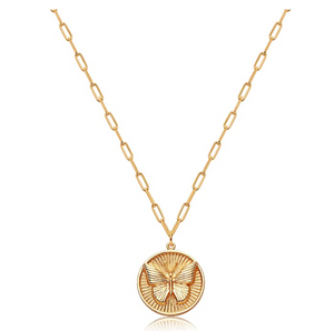 Circle Butterfly Necklace Butterfly Round Medallion Pendants Jewelry Butterfly Chain Birthday Gift Gold Color 18in.