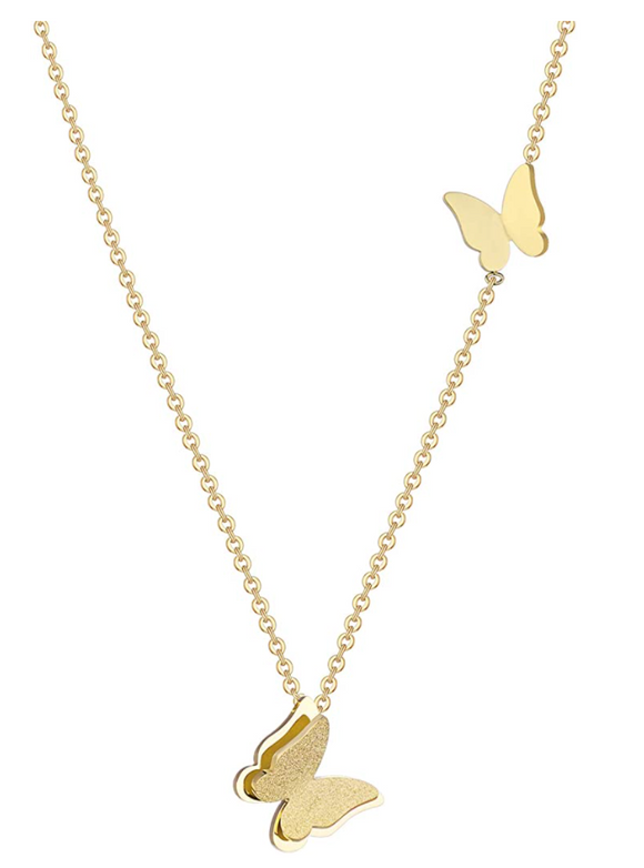 Two Butterfly Necklace Butterfly Pendants Jewelry Butterfly Chain Birthday Gift Gold Color 18in.